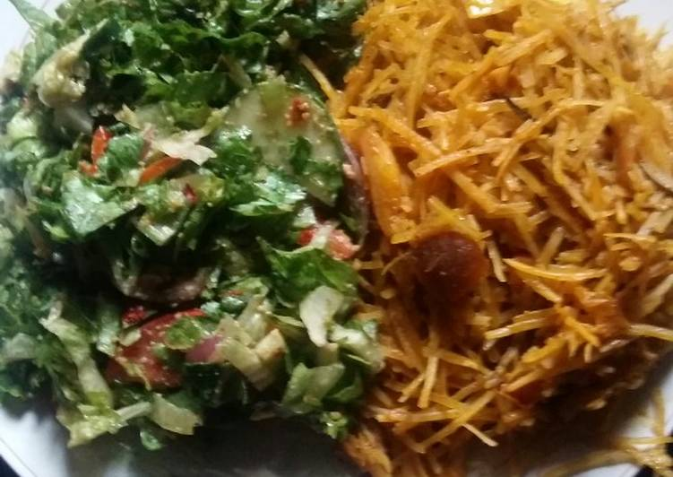 African Dish Abacha and Letus salad #myhubby'sfavourite