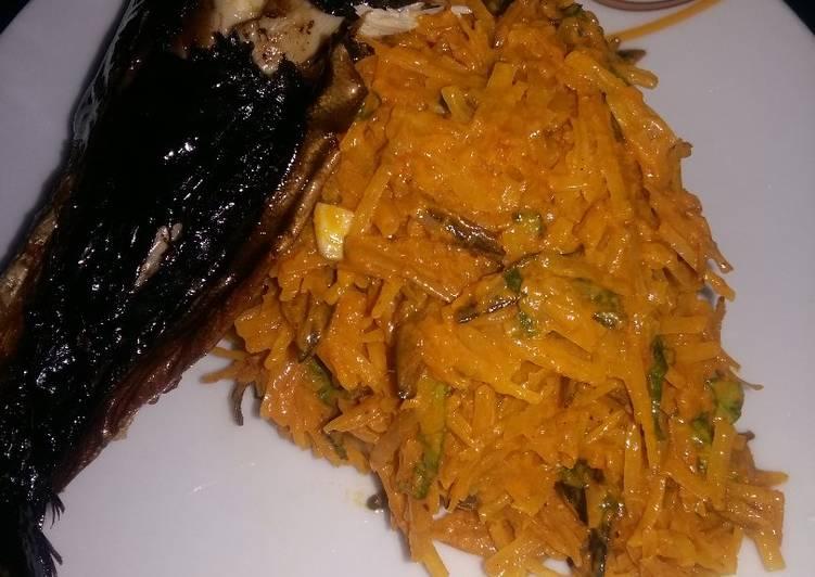 african salad aka abacha with smoked fish recipe main photo