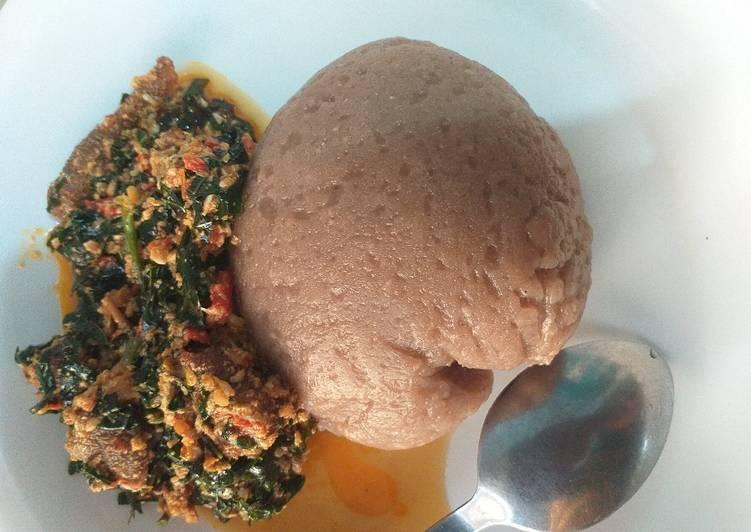 amala with egusi and ugu leaf recipe main photo