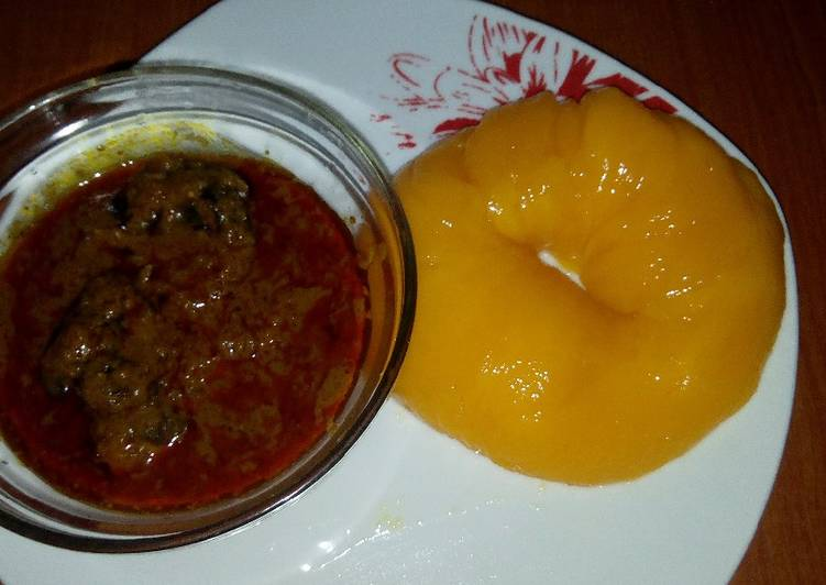 African Cuisine Banga soup and Starch