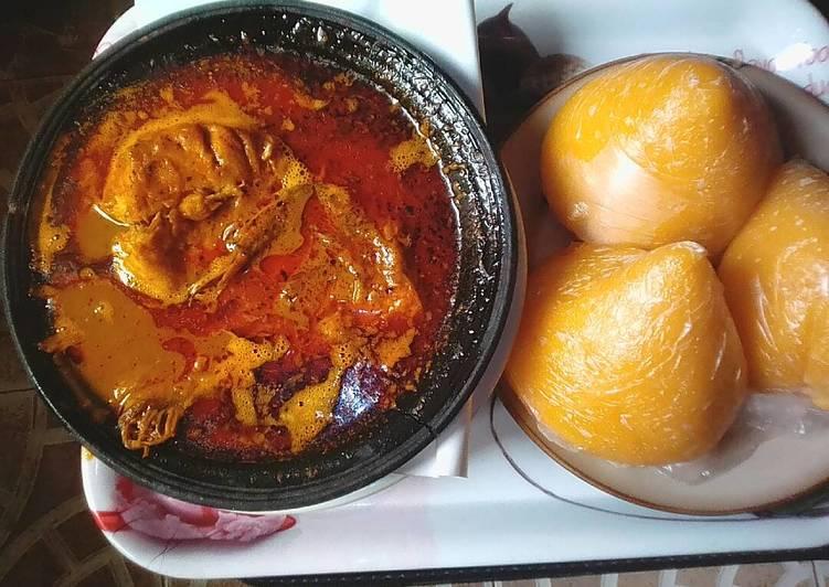 banga soup with fresh fishand starch recipe main photo 1