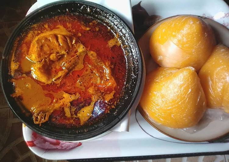 banga soup with fresh fishand starch recipe main photo