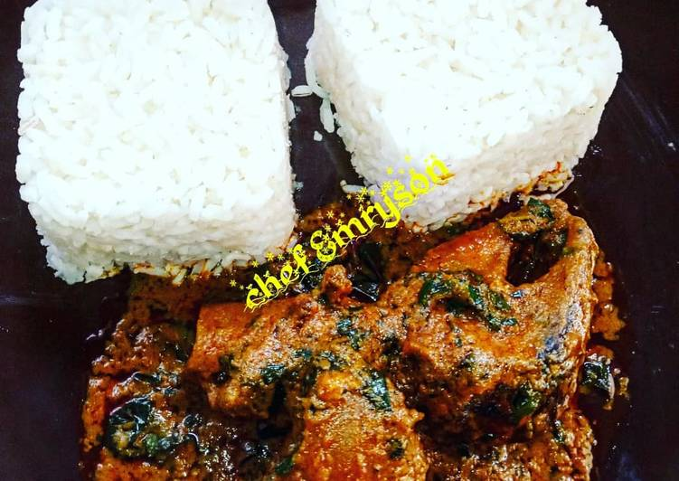 banga stewofe akwu with boiled rice my way recipe main photo