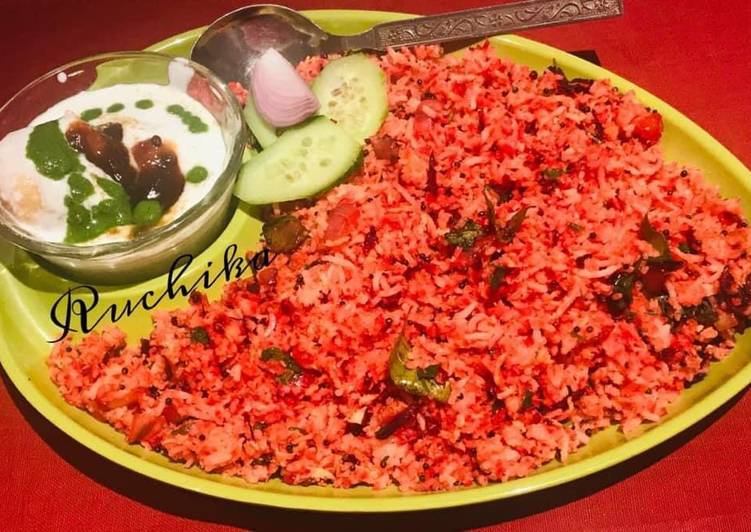 beetroot coconut rice recipe main photo