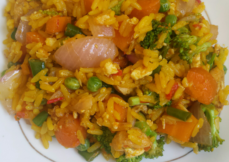 African Food Broccoli fried rice