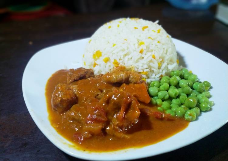 chicken coconut curry and rice recipe main photo