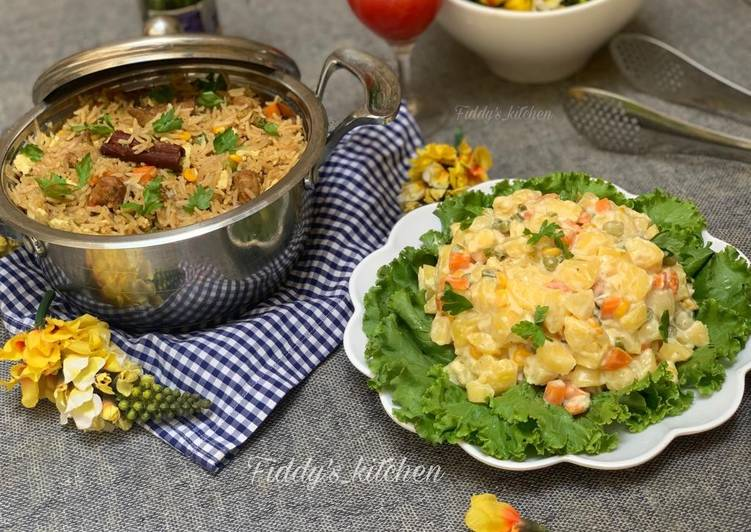 chinese fried rice with russian salad recipe main photo