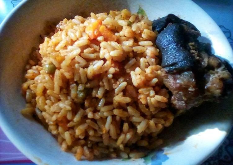 coconut jollof rice and fried chevon recipe main photo