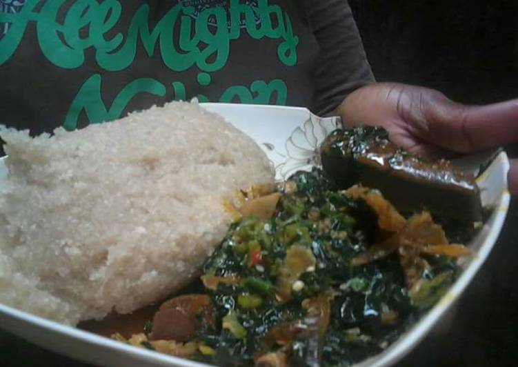 easy breezy ugwu and okra soup paired with eba recipe main photo