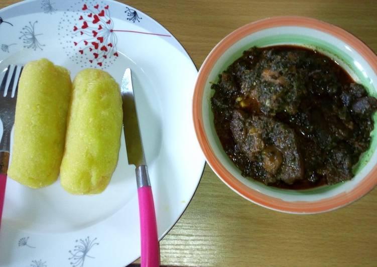 eba and afang soup recipe main photo