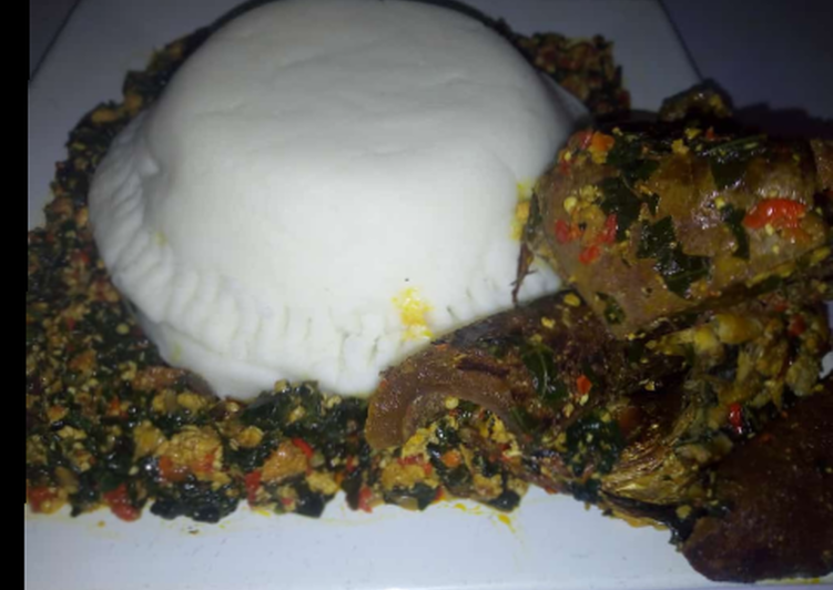 efo elegusi served with pounded yam recipe main photo