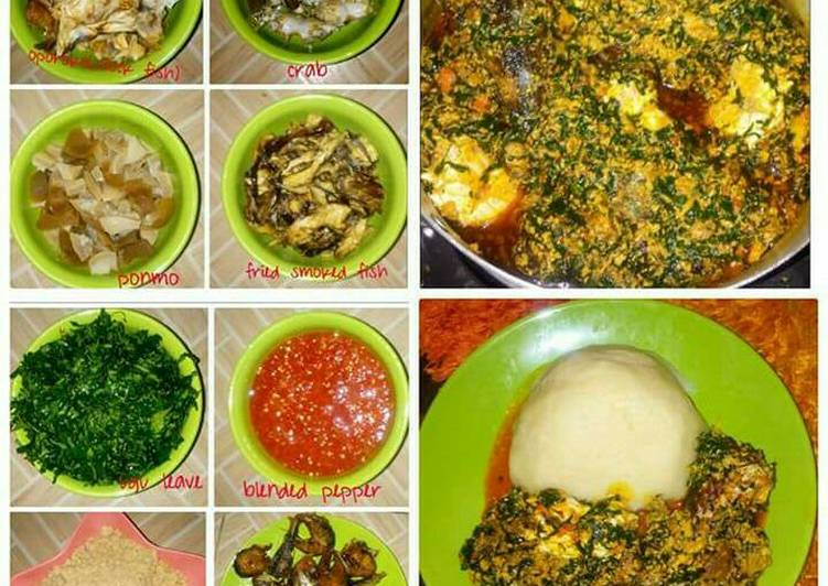 egusi soup served with semo recipe main photo