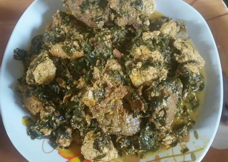Traditional African Foods Egusi soup with moringa leaves