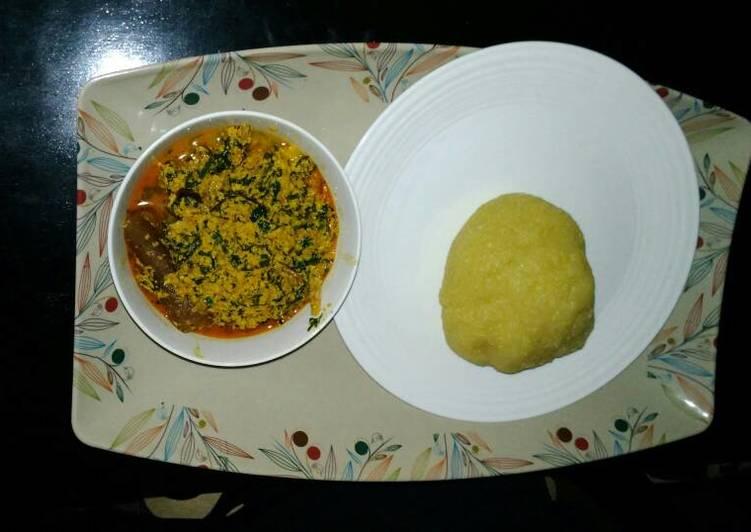 egusi soup with yellow garri recipe main photo