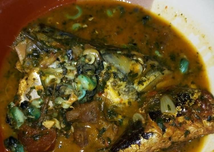 African Cuisine Fresh Ice Fish Bitterleaf Soup