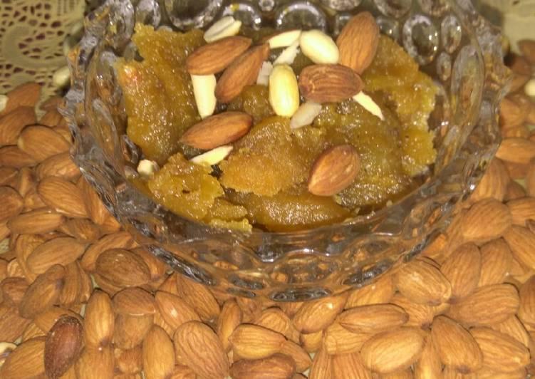 indian traditional besan almond halwa recipe main photo