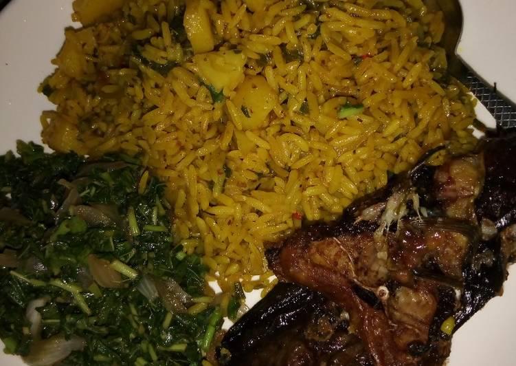 jollof rice and irish with vegetable sauce and cat fish recipe main photo