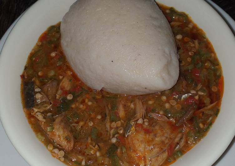 maize and cassava swallow with okro soup recipe main photo