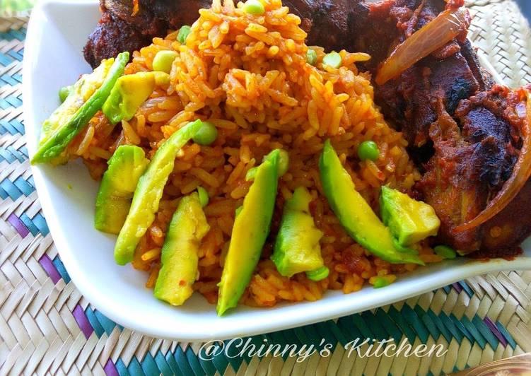 nigeria jellof rice paired with avocado and chicken recipe main photo