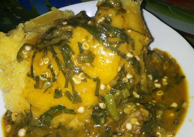 ogbono and okro soup with garri recipe main photo 2