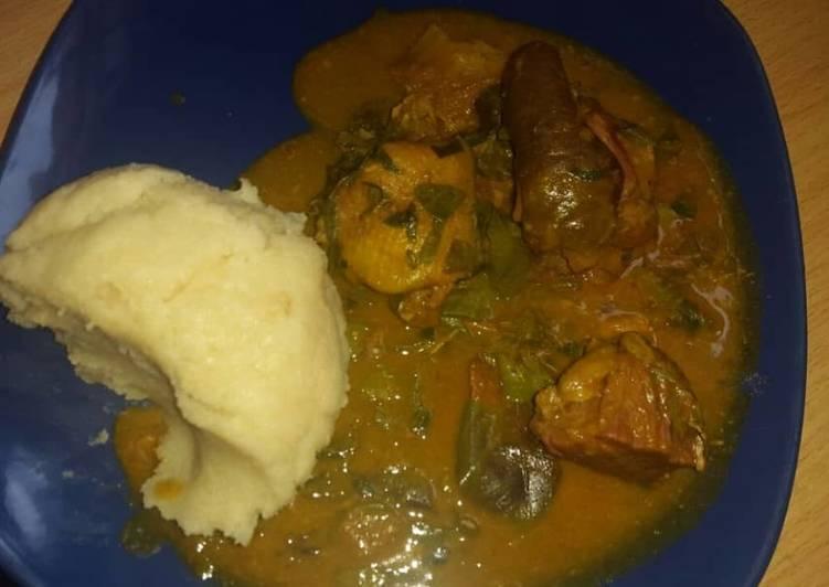 African Dish Oha soup and garri