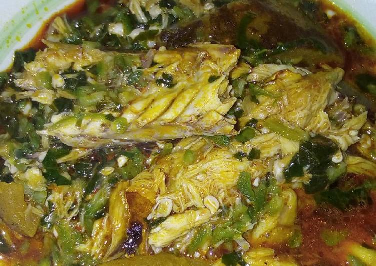 okra soup garnished with fish and pomo recipe main photo 1