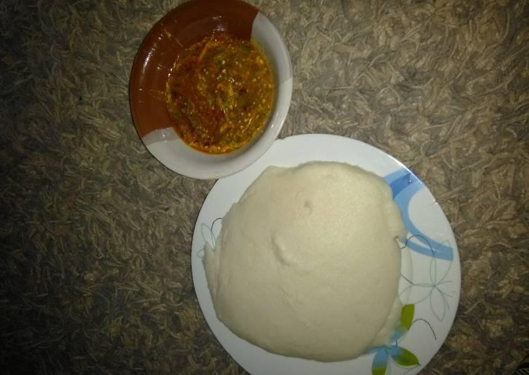 okro soup and white amala recipe main photo