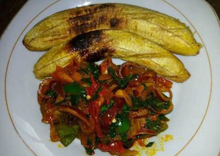 oven grilled plantain and utazi sauce recipe main photo