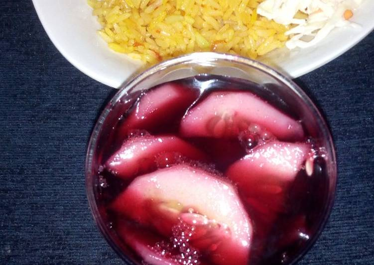 plain jollop rice with coleslow and zobo recipe main photo