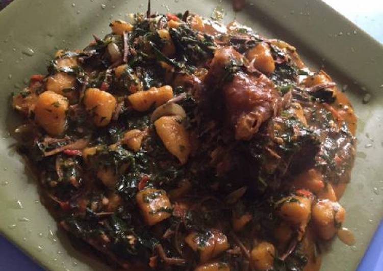plantain porriage with ugba and meat recipe main photo 1