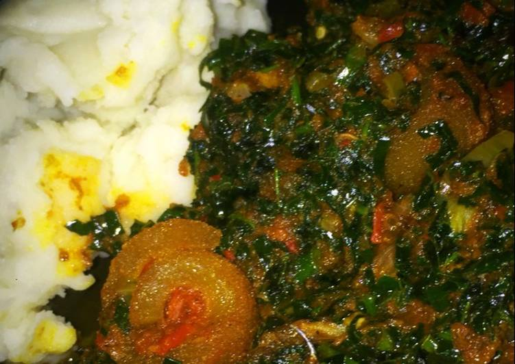 pounded yam and vegetable soup recipe main photo