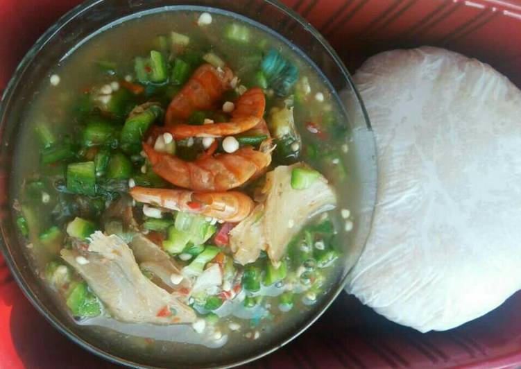 sea food with okro soup and pounded yam recipe main photo