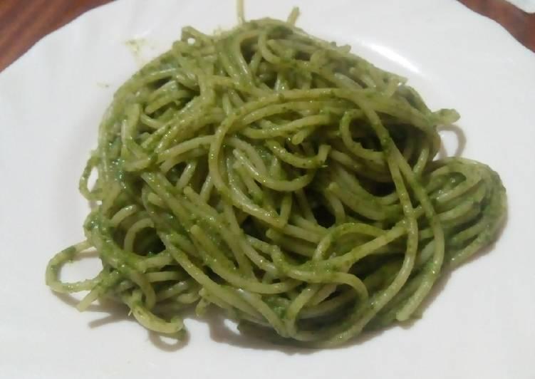 spaghetti with kenyan pesto recipe main photo