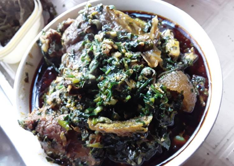 African Dish Spicy GOAT MEAT IN Vegetable Soup