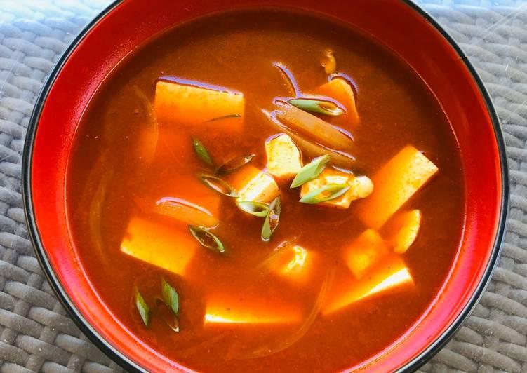 spicy sour gochujang tofu soup recipe main photo