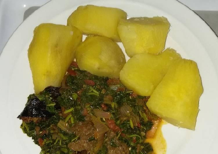 sweet potatoes and eforiro recipe main photo