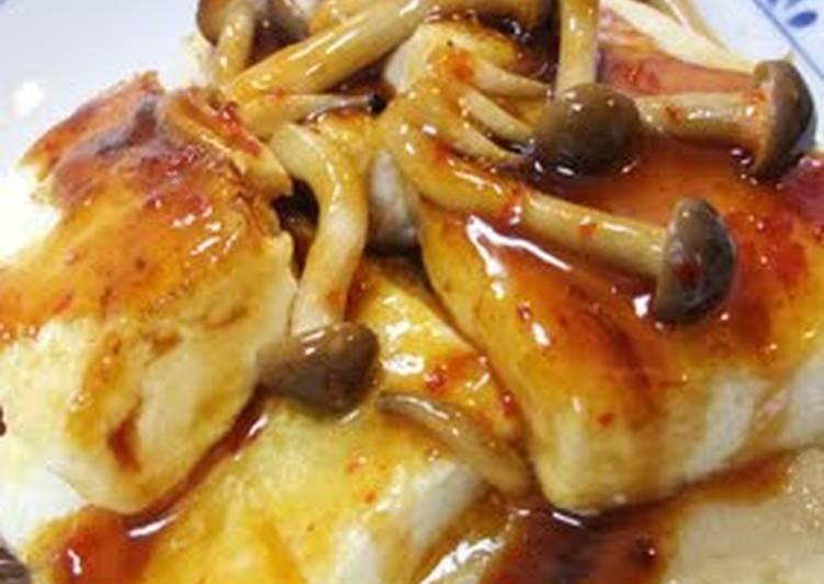 tofu steak with silky spicy shimeji mushroom sauce recipe main photo