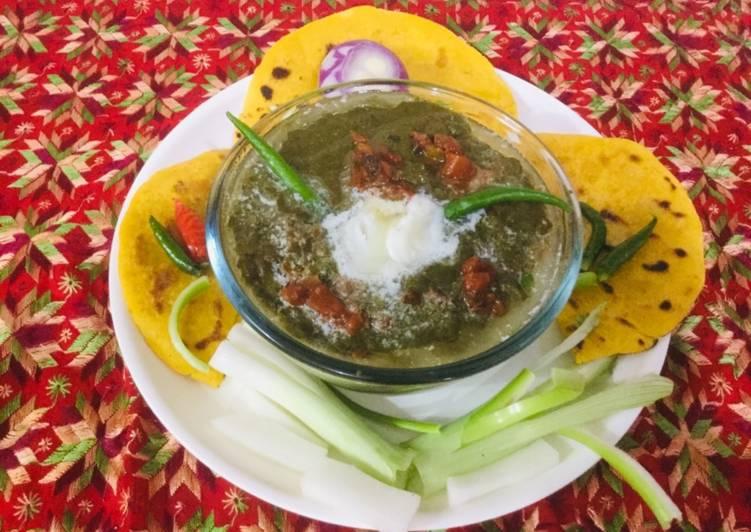 traditional punjabi sarson ka saag makki ki roti recipe main photo
