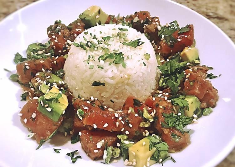 tuna poke with coconut rice and bibb lettuce recipe main photo
