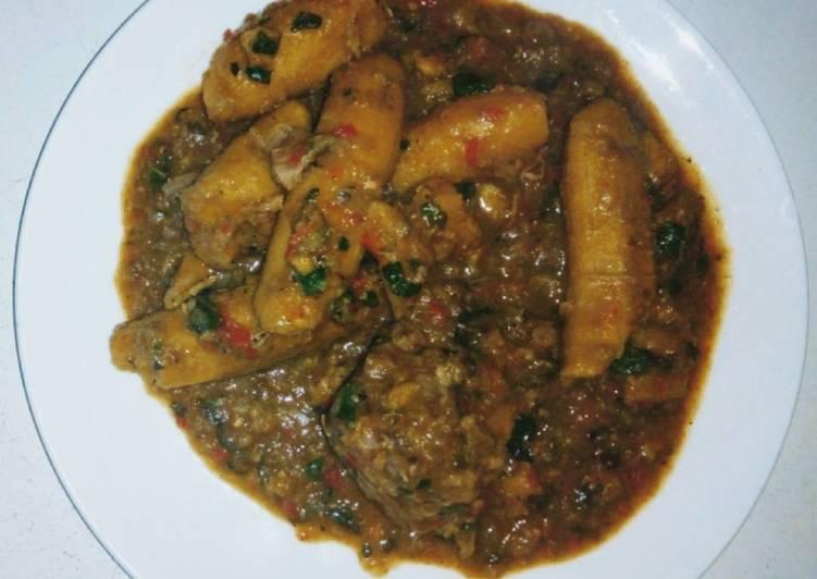 unripe plantain porridge with goat meat 🖤 recipe main photo