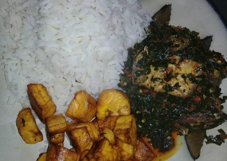 white rice with efo riro and plaintain oyostate recipe main photo 1