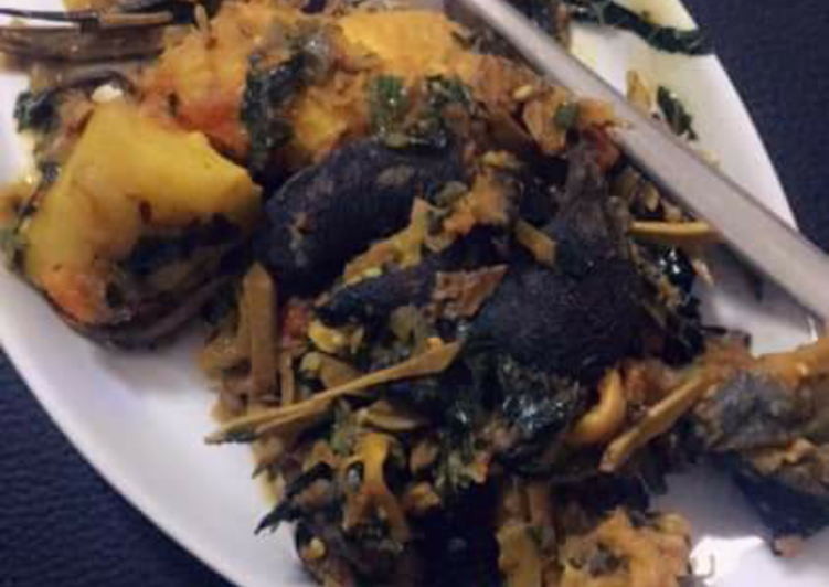 yam porriage with snail and ugba recipe main photo