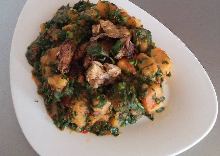 West African Foods Yam Porridge with Barbequed Chicken